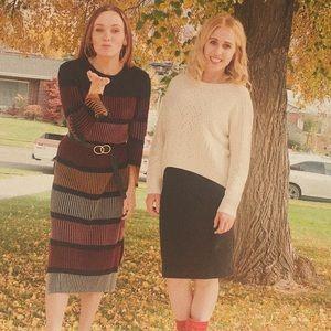 Black striped sweater dress